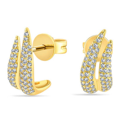 Diamond Flame J Huggie Earring