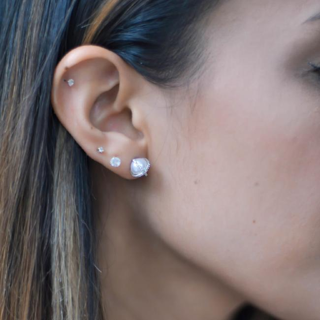 Diamond X Pearl Stud Earrings