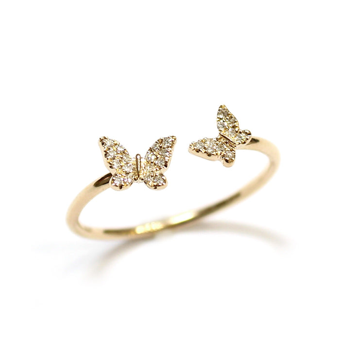 Diamond Butterfly Open Ring