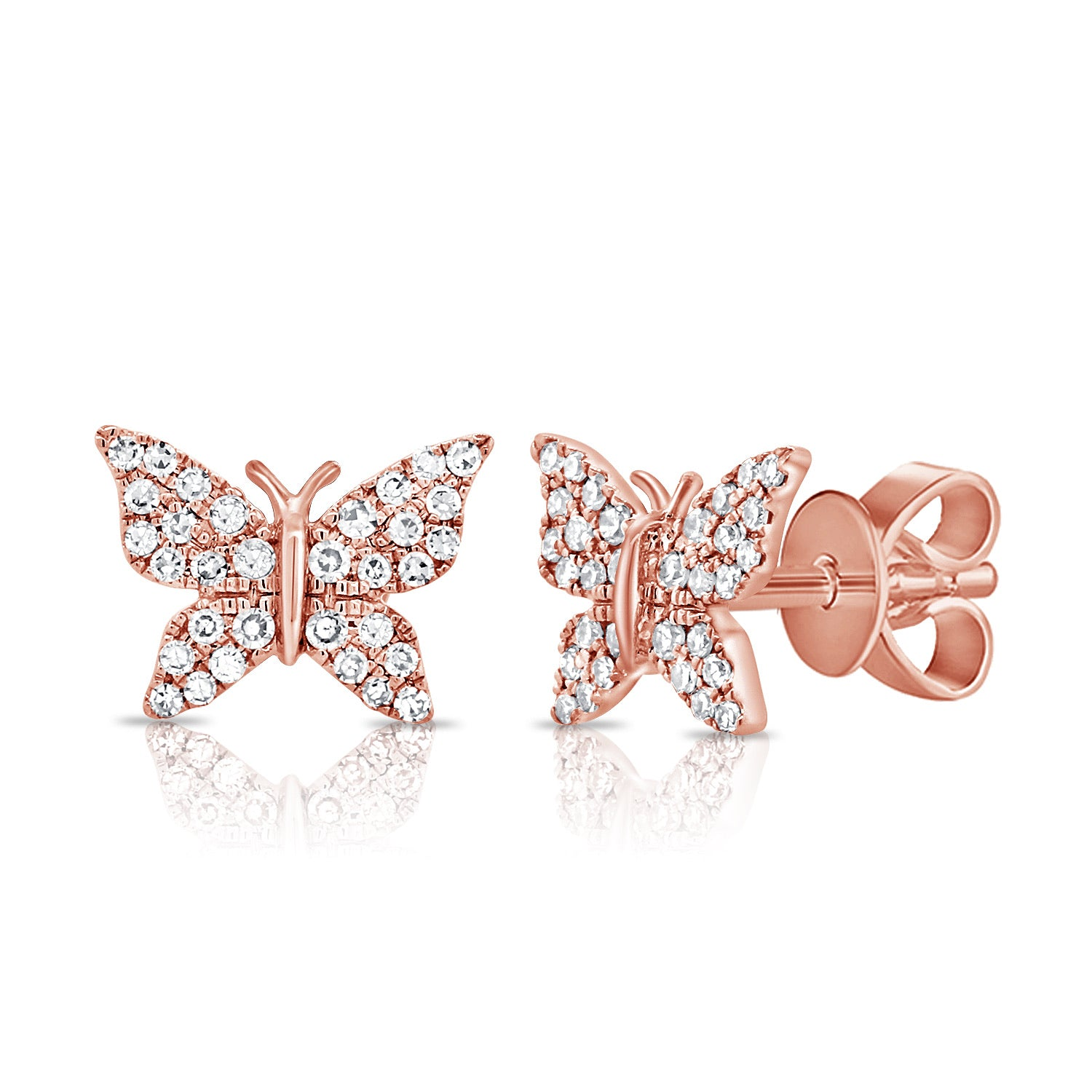 Diamond And Gold Butterfly Earring