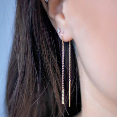 Diamond Bar Threader Earring