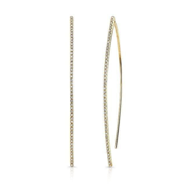 Gold Long Wishbone Stick Earring
