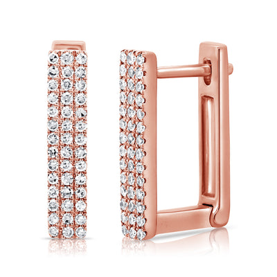Diamond And Gold Square Huggie Earring
