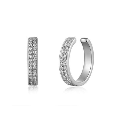 Diamond Double Row Cuff Earring