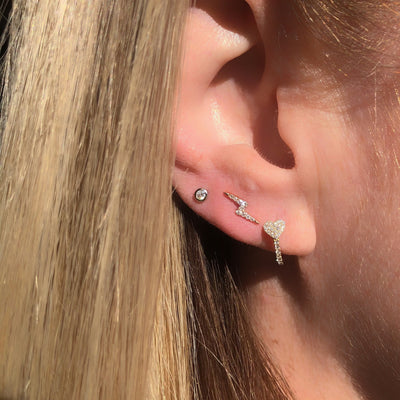 Heart Diamond Huggie Earring