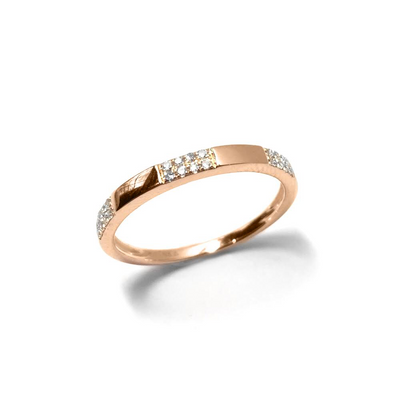 Gold And Diamond Brick Ring