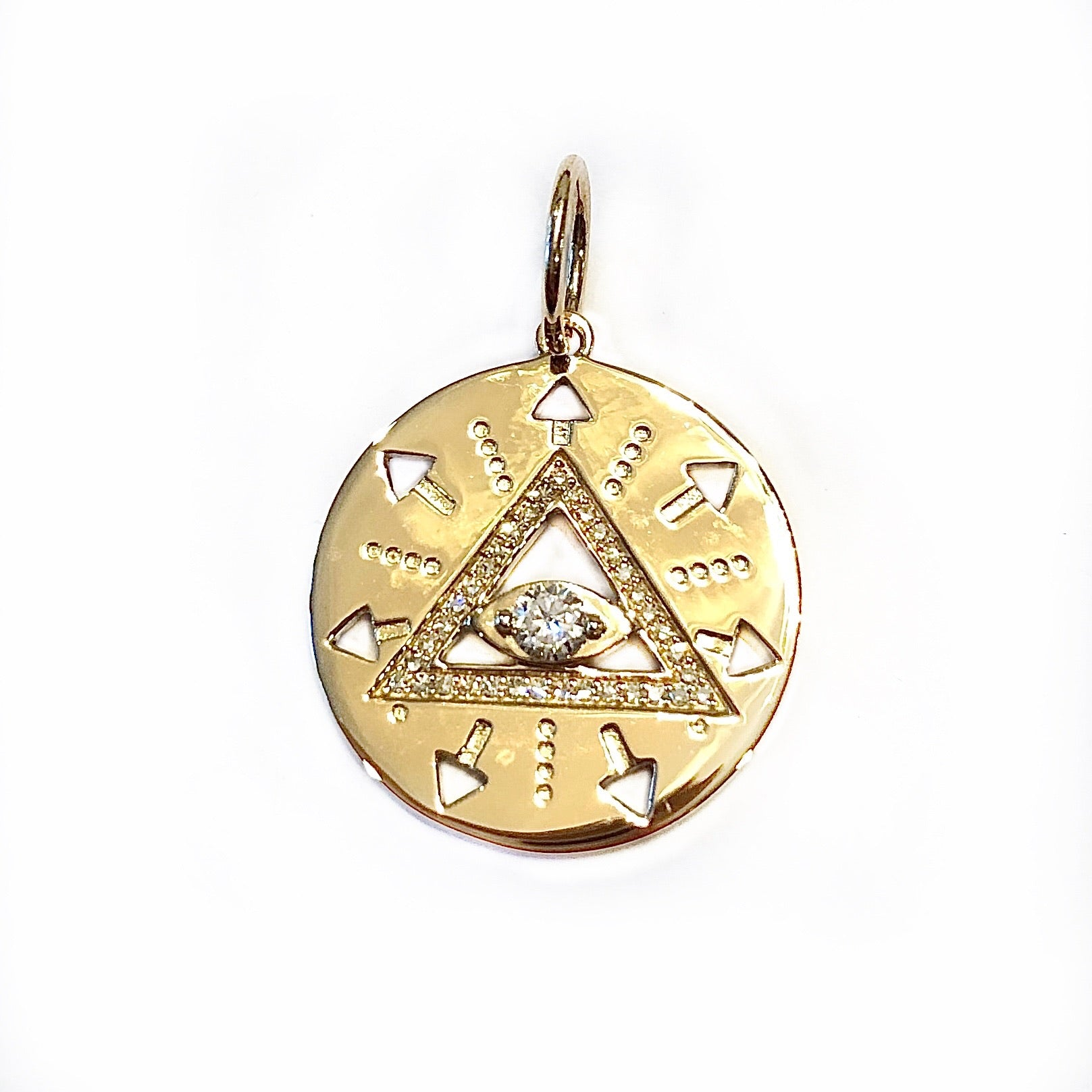 Diamond Evil Eye Disc Charm