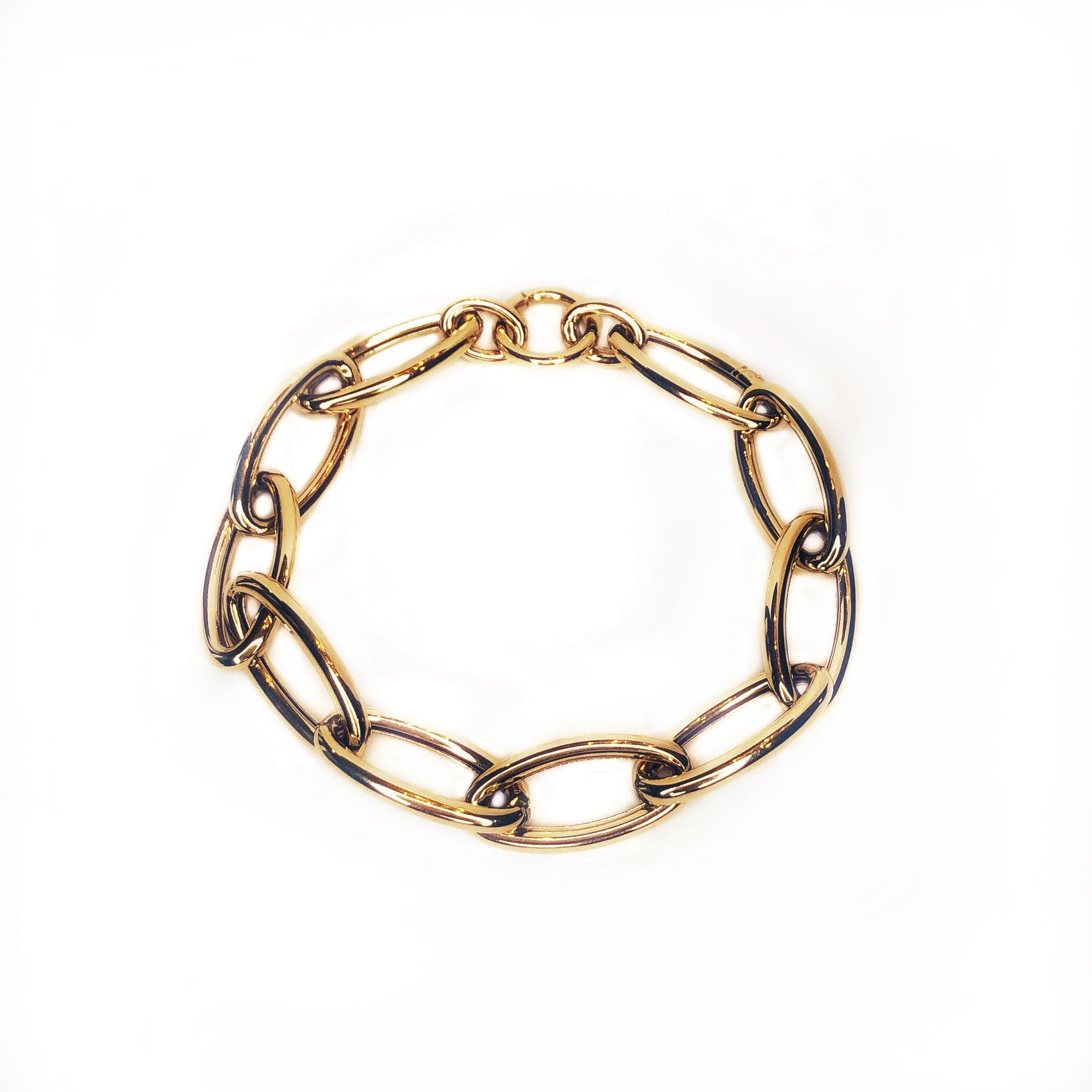 Gold Oval Chain Link Bracelet