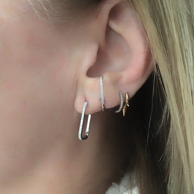 Diamond Rectangle Hoop Earring