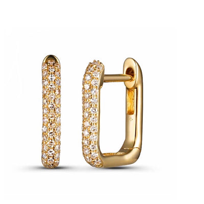 Diamond Pave Rectangular Huggie Earring