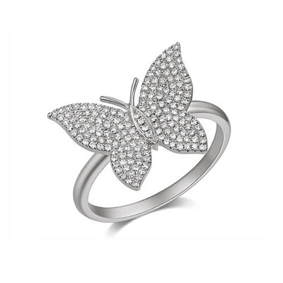 Large Diamond Pave Butterfly Ring