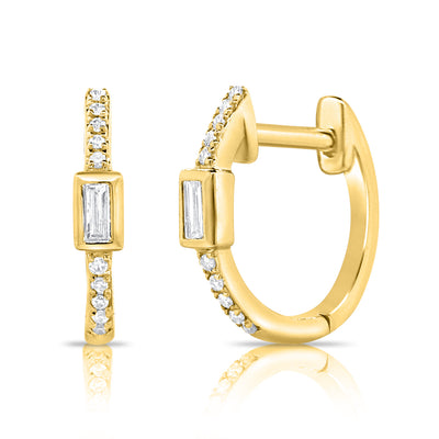 Diamond Baguette And Round Gold Huggie Earring