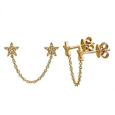 Diamond Star Chain Earring