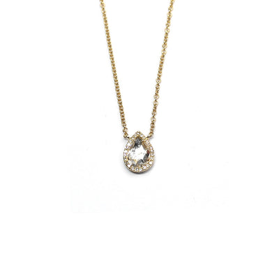 Diamond And White Topaz Pear Shape Necklace
