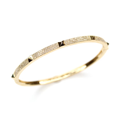 Diamond Spike Gold Bangle Bracelet