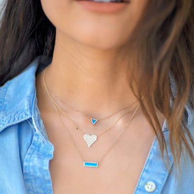 Diamond and Stone Bar Necklace