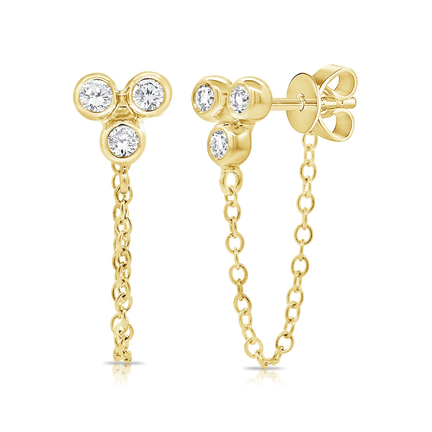 Diamond Three Bezel Chain Earring