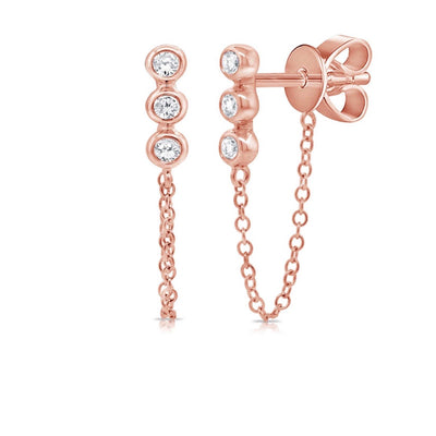 Three Diamond Bezel Chain Earring