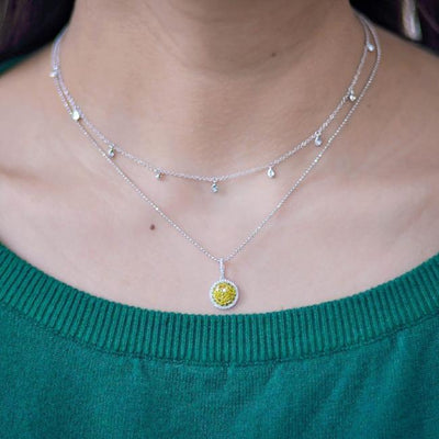 Diamond Tear Drop Bezel Necklace