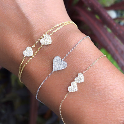 Diamond Double Heart Chain Bracelet
