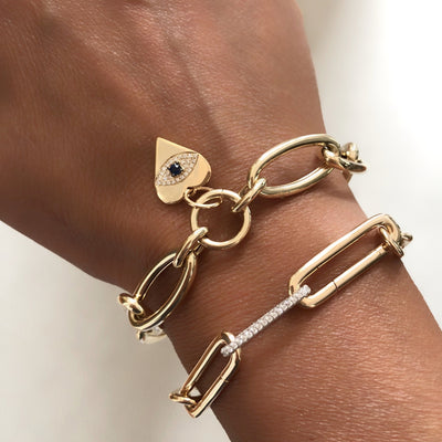 Gold Heart Evil Eye Charm