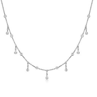 Bezel Diamond Drop Necklace