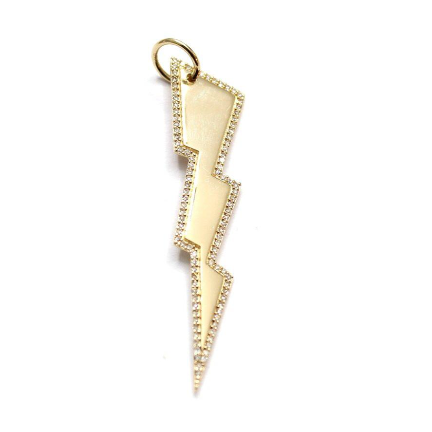 Gold and Diamond Lightning Bolt Charm