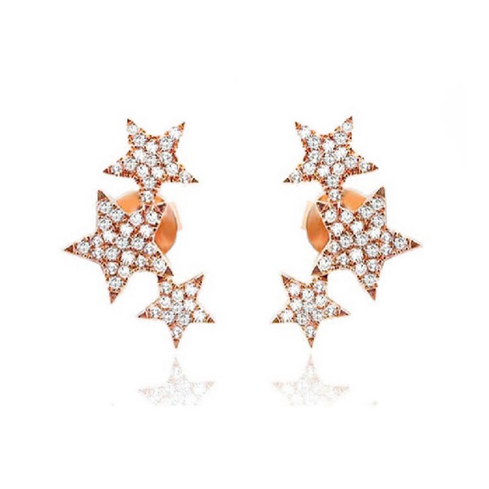 Gold And Diamond Triple Star Earring Stud