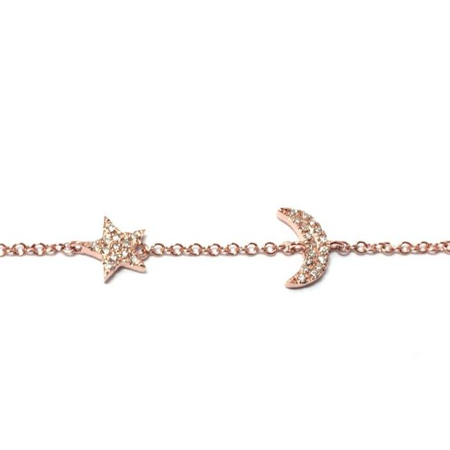 Diamond Moon and Star Bracelet
