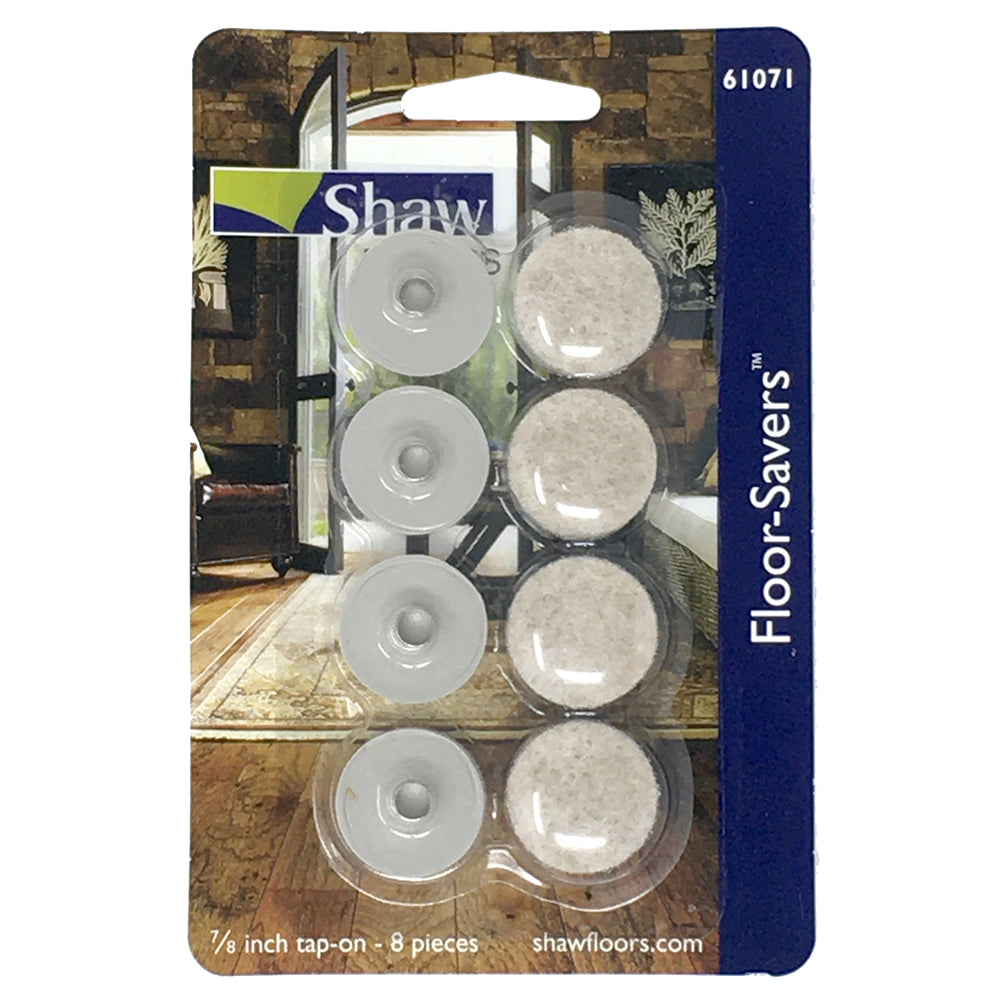 Shaw Tap-on Slider Felt Chair Pads 8 Pack of 7/8