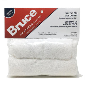 "Bruce 2 Reusable Replacement Terry Cloth Mop Covers for Mop Head Size 8"" x 15"""