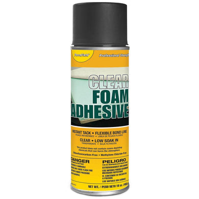 ForceField Clear Foam Adhesive Instant Tack Flexible Bond Line Low Soak In 16oz Spray