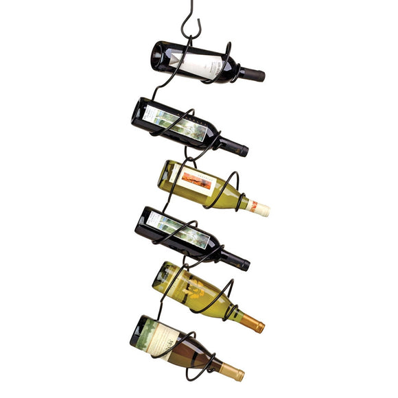Climbing Tendril 6-Bottle Hanging Rack, Black - Oenophilia