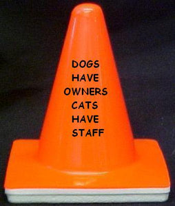 """Dogs have owners, Cats have staff"" - 4"" Blaze Cone - Workzone"