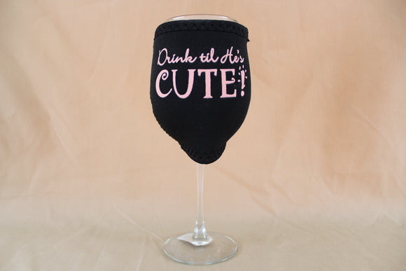 "W.I.N.O.S. Boxed Wine Glass w/ Insulator - ""Drink Til He's Cute"""