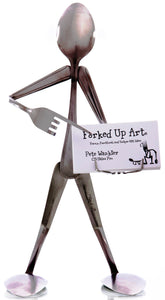 Business Card Holder - Spoon Art Figurine - Forked Up Art