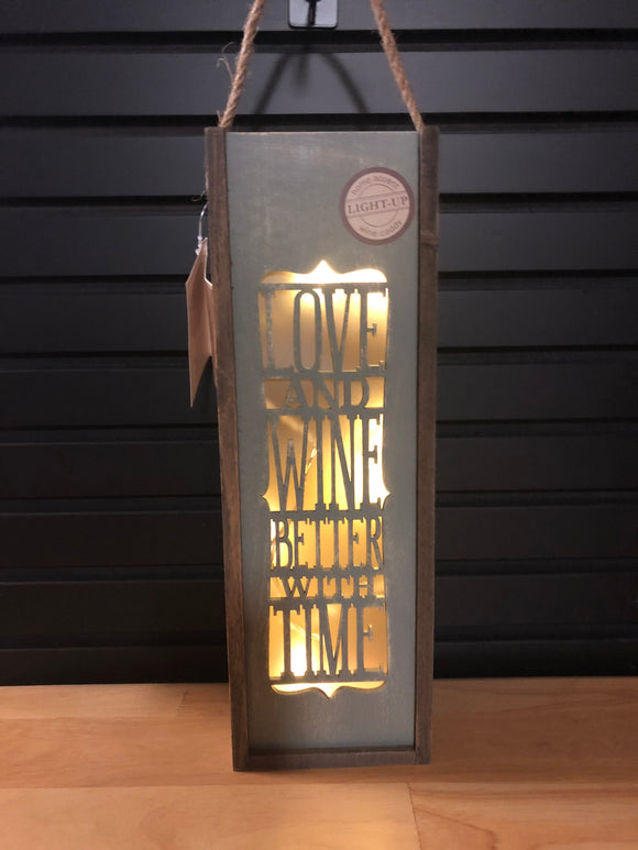 "Wooden wine caddy ""Love and Wine better with Time"""