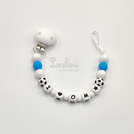 www.louloulaboutique.com Attache tétine 77 silicone bleu blanc ballon de football fan foot OM marseille