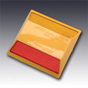 Model 921 Abrasion Resistant Type AR RA Two Way Red & Amber Reflective Plastic Pavement Marker 4""