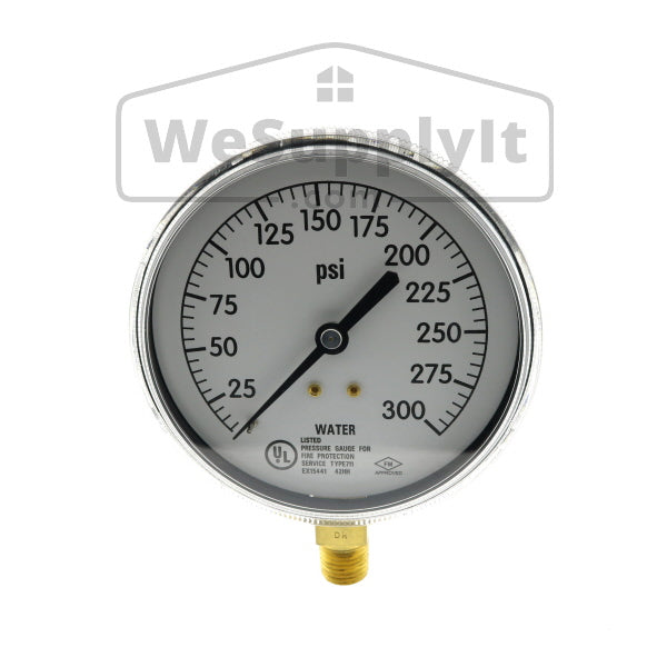 Plastic Gauge, Water Only, 0-300 PSI, UL/ULC/FM