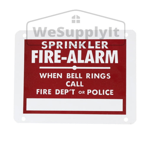 "Sprinkler Fire Alarm Bell Sign, Call Fire Dept., Aluminum, 9"" x 7"""