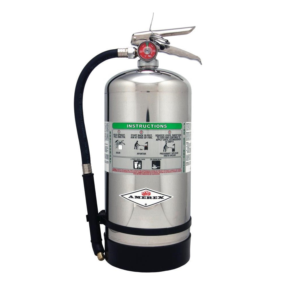 Amerex B260 Fire Extinguisher, Wet Chemical Class K, 6 Liter, 1A:K, With Wall Bracket And Sign