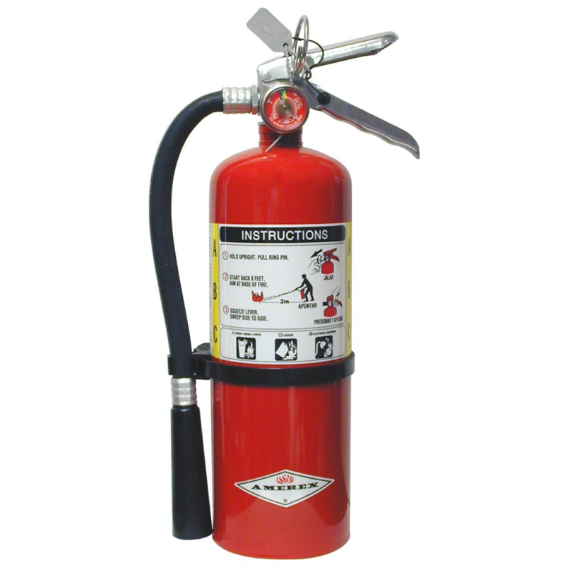 Amerex B500 Fire Extinguisher, ABC, 5lb, 2A10BC, With Wall Bracket