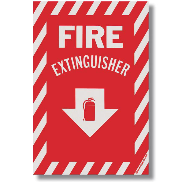 "Fire Extinguisher Arrow Sign - Vinyl - 8"" x 12"" - S118"