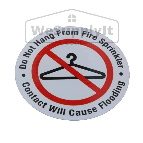 "Do Not Hang From Fire Sprinkler Sign - 3"" Vinyl - Roll of 100 Stickers - S100"