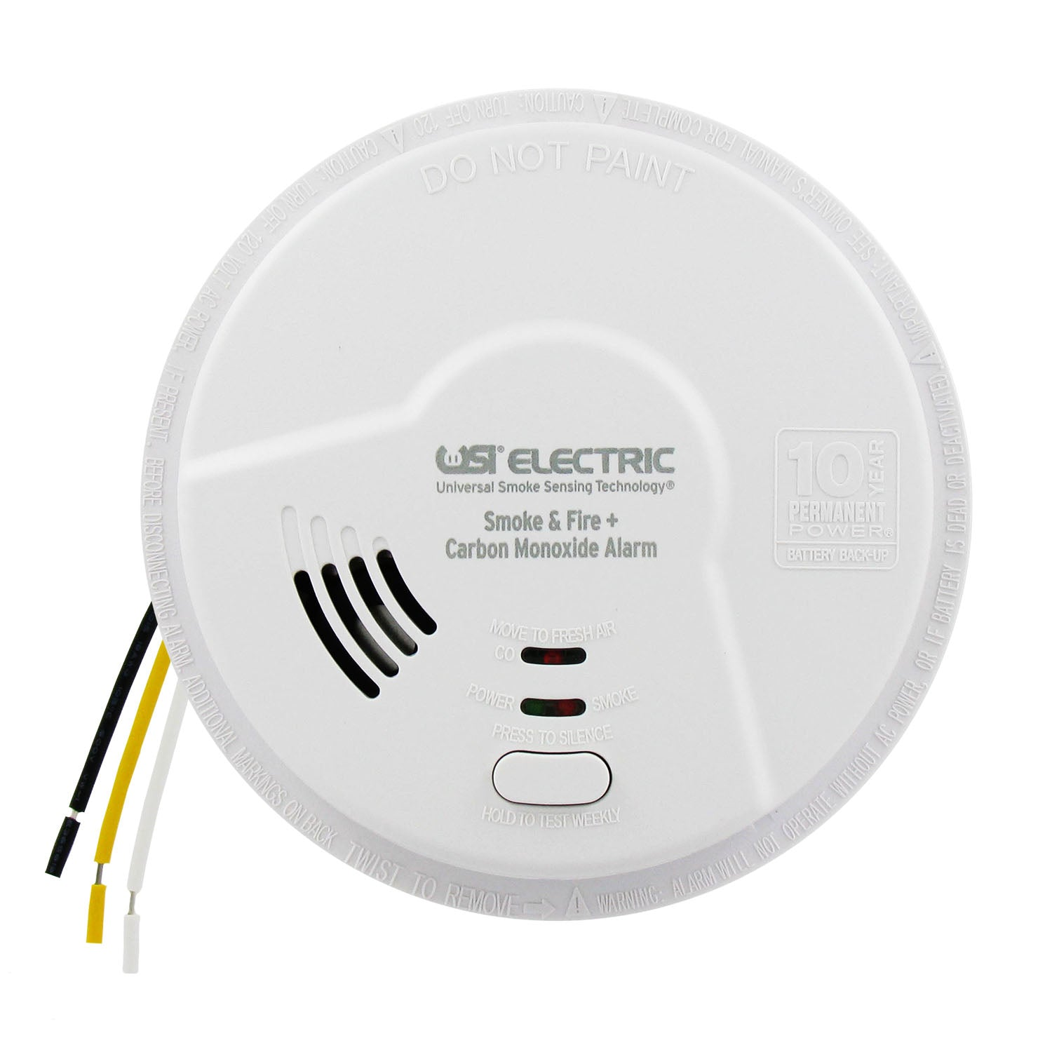 MIC1509S USI 3-in-1 Hardwired Smoke, Fire & Carbon Monoxide Smart Alarm with 10 Year Tamper-Proof Sealed Battery