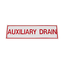 "Auxiliary Drain Sign, Sticker, Decal, 6"" x 2"""