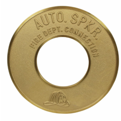 "Fire Dept. Connection Auto. Spkr. Sign - Brass - Round - 4"" - W357"