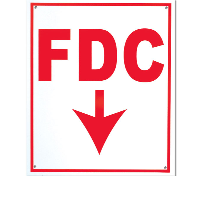 "FDC Sign - Aluminum - With Arrow - 12""x10"" - W800"
