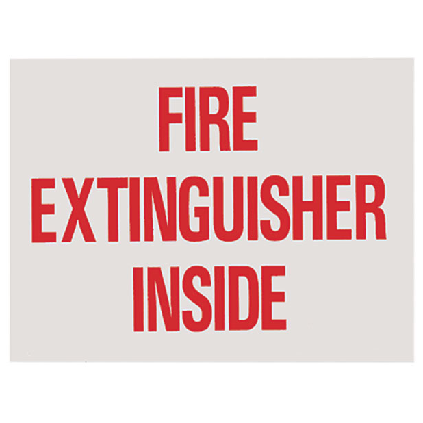 "Fire Extinguisher Inside Sign - Vinyl - 4"" x 3"" - S120"